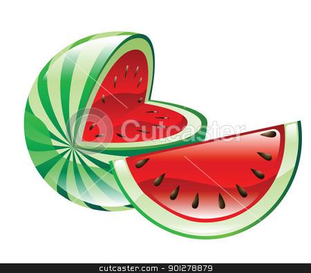 watermelon illustration stock vector clipart, Illustration of watermelons by Christos Georghiou