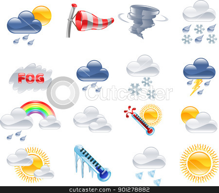 Weather forecast icons stock vector clipart, A high quality icon set relating to weather and weather forecasting. by Christos Georghiou