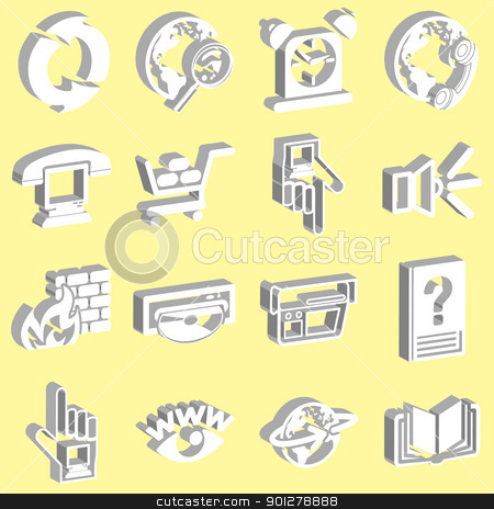 3D Internet web icon series set stock vector clipart, a set of internet web icons  by Christos Georghiou