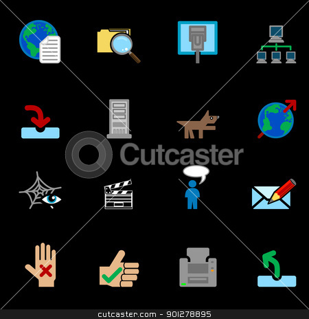 Internet web icon series set stock vector clipart, A series of internet web icons set.  by Christos Georghiou