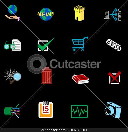 Internet web icon series set stock vector clipart, A series of internet web icons set.  by Christos Georghiou