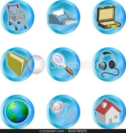 internet web icons stock vector clipart, 3d color web and internet icon series  by Christos Georghiou