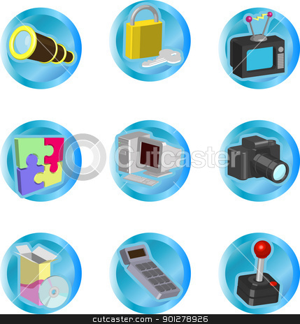 internet web icons stock vector clipart, color icon set or design elements relating to web and computing  by Christos Georghiou