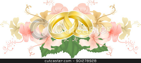Wedding designg intertwined wedding rings and hibiscus stock vector clipart, Wedding motif featuring intertwined wedding bands or rings and beautiful hibiscus flowers  by Christos Georghiou