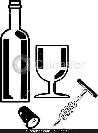 Wine  Illustration stock vector clipart, An illustration of a bottle of wine and a wineglass.  by Christos Georghiou