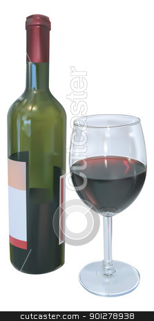 Red Wine stock vector clipart, Vector illustration of red wine bottle and glass of wine  by Christos Georghiou
