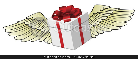 Gift flying with feathered wings stock vector clipart, Illustration of a gift flying with feathered wings by Christos Georghiou