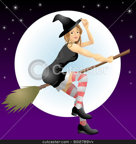 beautiful witch stock vector clipart, An illustration of a beautiful Halloween with riding her broomstick  by Christos Georghiou