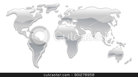 Liquid metal world map stock vector clipart, A world map made with liquid silver metal droplets like mercury forming the continents by Christos Georghiou