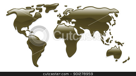 Liquid oil world map stock vector clipart, A world map with crude oil droplets forming the continents by Christos Georghiou