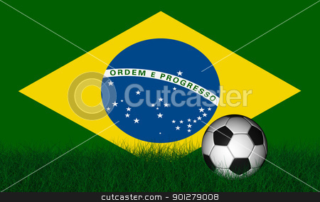 Soccer ball over green grass stock photo, Soccer ball render over green grass and flag of brazil by marphotography