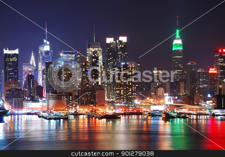 EMPIRE STATE BUILDING, NEW YORK CITY  stock photo, Empire State Building, New York City with Manhattan Skyline at night panorama over Hudson River with reflection. by rabbit75_cut