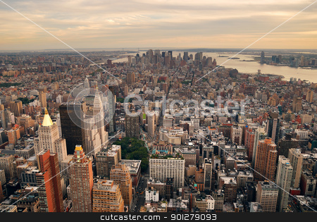New York City stock photo, New York City Manhattan sunset skyline aerial view with office building skyscrapers and Hudson River. by rabbit75_cut