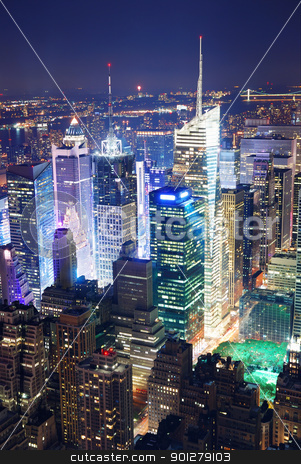 Times Square aerial view at night stock photo, New York City Manhattan Times Square panorama aerial view at night with office building skyscrapers skyline illuminated by Hudson River. by rabbit75_cut