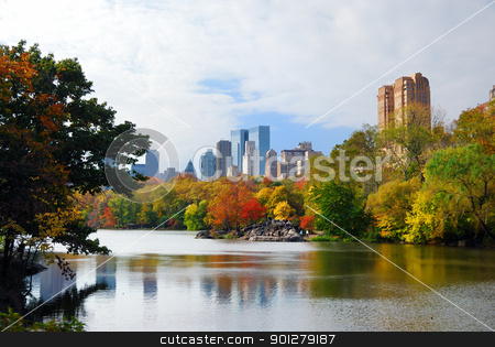 New York City Manhattan Central Park stock photo, New York City Manhattan Central Park panorama in Autumn lake with skyscrapers and colorful trees with reflection. by rabbit75_cut