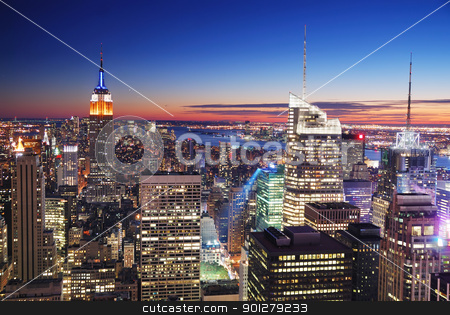 New York City Manhattan Empire State Building and Times Square stock photo, New York City Manhattan skyline aerial view with Empire State Building and Times Square at sunset. by rabbit75_cut
