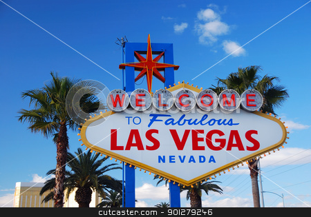 Las Vegas welcome sign stock photo, Las Vegas welcome sign on strip. by rabbit75_cut