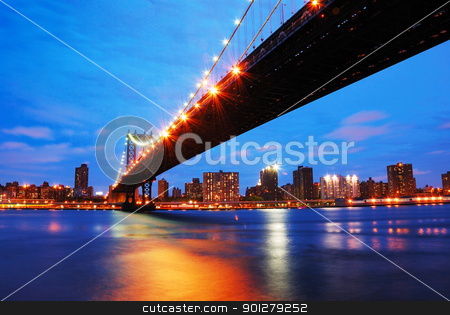 New York City Manhattan bridge stock photo, New York City Manhattan bridge and Manhattan skyline at dusk. by rabbit75_cut