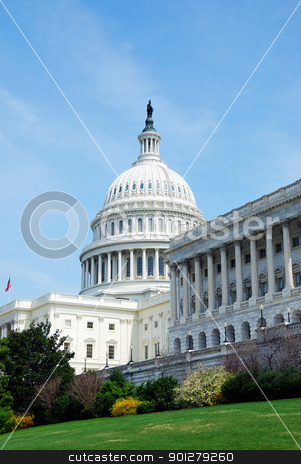 Washington DC stock photo, American Capitol Hill Building with tree, lawn and blue sky, Washington DC, USA by rabbit75_cut
