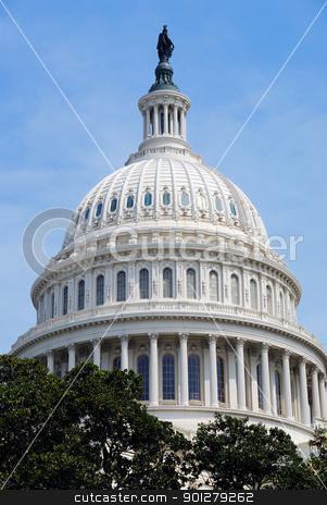 Capitol Hill Building dome closeup, Washington DC stock photo, Capitol Hill Building dome closeup with blue sky and trees, Washington DC by rabbit75_cut