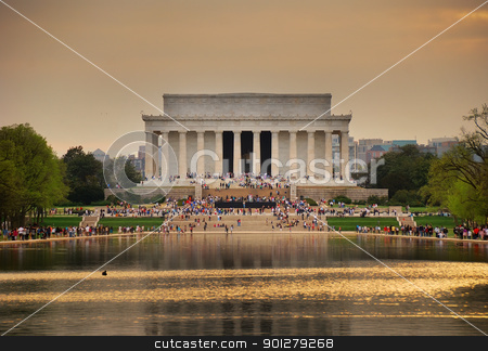 Lincoln Memorial, Washington DC stock photo, Lincoln Memorial at sunset with lake reflections, Washington DC by rabbit75_cut