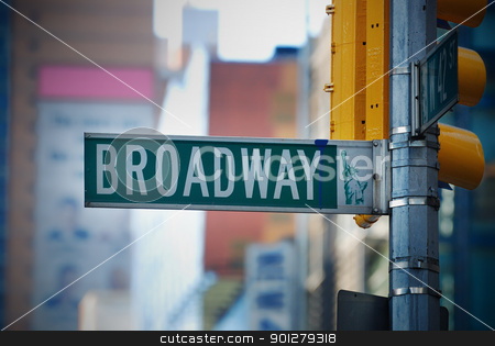 Broadway road sign in Manhattan New York City stock photo, Broadway road sign in Manhattan New York City with skyscrapers. by rabbit75_cut