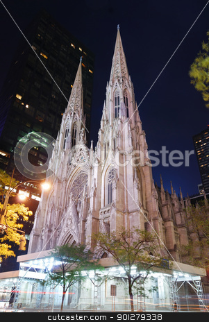 New York City Saint Patrick Cathedral stock photo, New York City Saint Patrick Cathedral on Manhattan 5th avenue at night lit by lights. by rabbit75_cut
