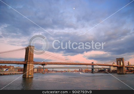 New York City Brooklyn Bridge panorama stock photo, New York City Brooklyn Bridge with Manhattan skyline panorama at sunset by rabbit75_cut