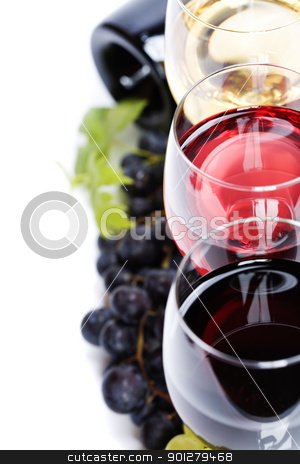 Wine composition stock photo, Glasses of white and rose wine and grapes over white by klenova