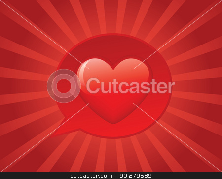 I love you!! stock photo, Heart on bubble speech on sunbeam background. EPS 8 CMYK global color vector illustration. by wingedcats
