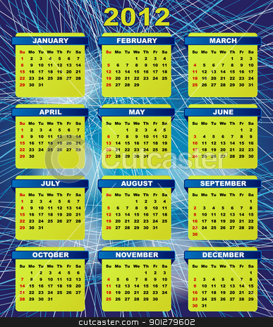 2012 Calendar stock vector clipart, 2012 Calendar On Abstract Blue Streaky Background by JAMDesign
