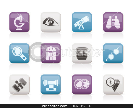 Optic and lens equipment icons  stock vector clipart, Optic and lens equipment icons - vector icon set by Stoyan Haytov