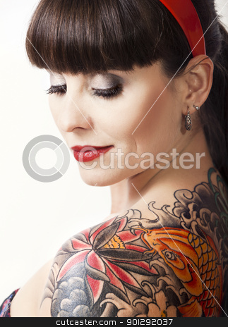 Vintage woman with a tattoo stock photo, Portrait of a beautiful young...