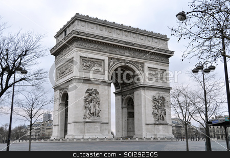 The Arc de Triomphe in Paris stock photo, The Arc de Triomphe a sunday morning in winter, Paris, France by Dutourdumonde