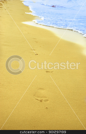 Footprint on sand stock photo, Beachwalk - footprint on a sandy beach. by johnnychaos