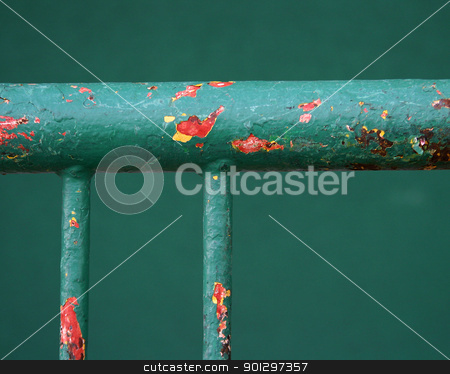 Bike Rack Abstract stock photo, A weathered green bike rack abstract. by Tyler Olson