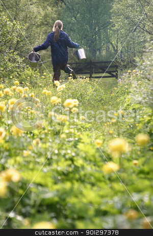 Fetching Water stock photo, A girl running through the flowers with two water buckets by Tyler Olson