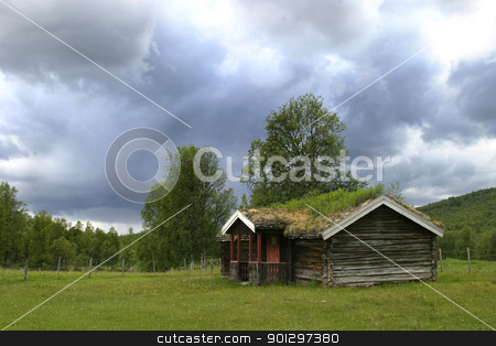 Mountain Cabin stock photo, A norwegian mountain cabin (hytte) near roros rros tolga by Tyler Olson