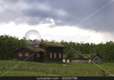 Mountain Cabin stock photo, A mountain cabin in middle norway near roros rros tolga by Tyler Olson