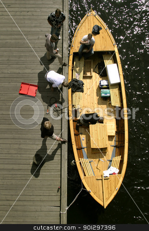 Wooden Boat stock photo, A wooden boat viewed from above by Tyler Olson
