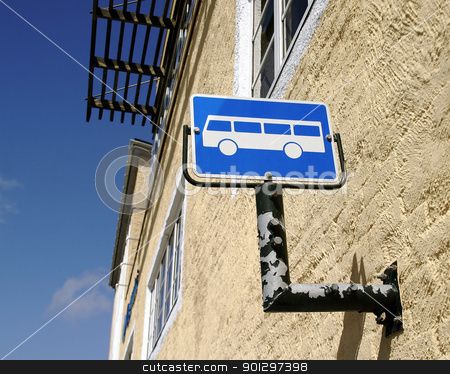 Bus Stop stock photo, Norwegian bus stop sign by Tyler Olson