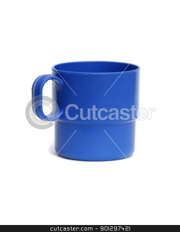 Blue Plastic Cup stock photo, Blue plastic camping cup isolated on white by Tyler Olson