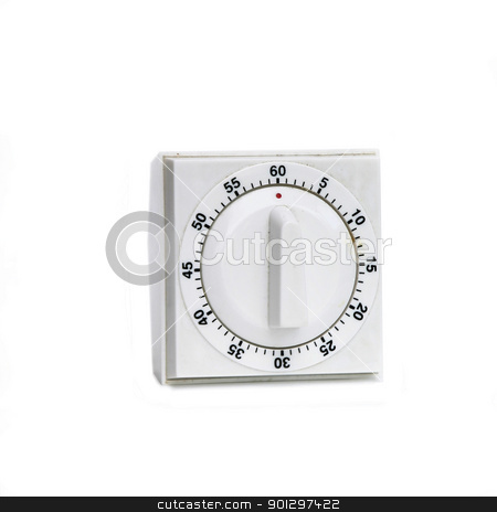 Vintage White Timer stock photo, A white plastic timer on white by Tyler Olson