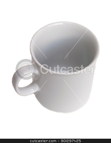 White Coffee Mug stock photo, white coffee mug isolated on white viewed from the top by Tyler Olson