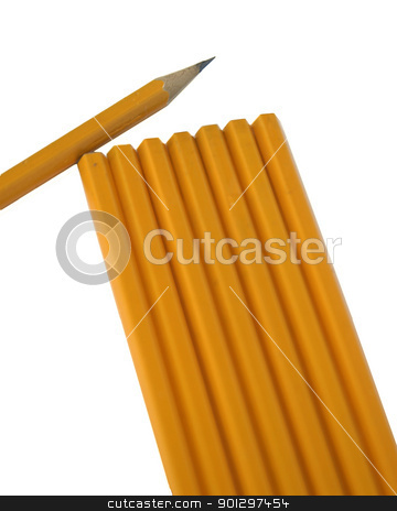 Group of Pencild stock photo, A group of pencils with one sharpened on white by Tyler Olson