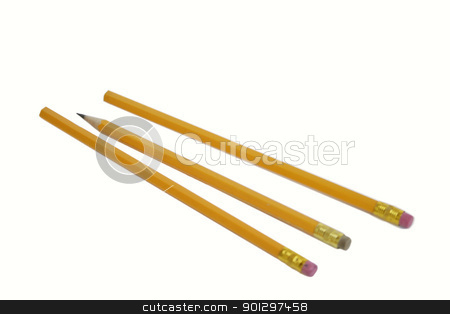 Three pencils stock photo, Three pencils with the middle one sharpened by Tyler Olson
