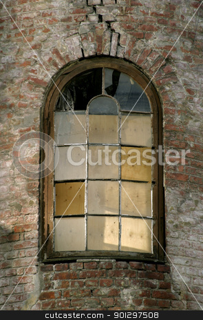 Window Detail stock photo, An old glass window in a retro brick building by Tyler Olson