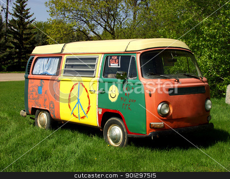 Hippie Van stock photo, Brightly Painted Hippie Van by Tyler Olson