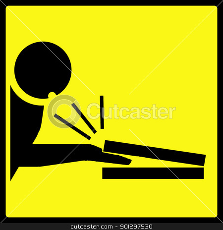 Laptop Lid Warning stock photo, Warning sign with a man getting fingers squished in a laptop by Tyler Olson