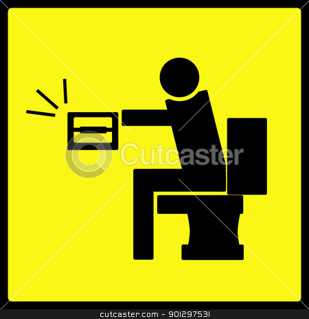 Empty Toilet Paper stock photo, A man on a toilet with the toilet paper roll empty by Tyler Olson